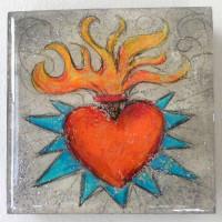 Resin-coated Prismacolor sacred heart on plaster