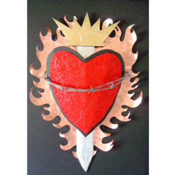 Sacred Heart with hammered copper flames, embossed felt, barbed wire and metal leaf