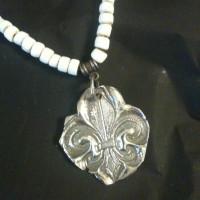 Fleur De Lis Pendant on White Beads