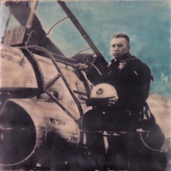 Hand-colored encaustic transfer. vintage photo 12x12 (my dad)